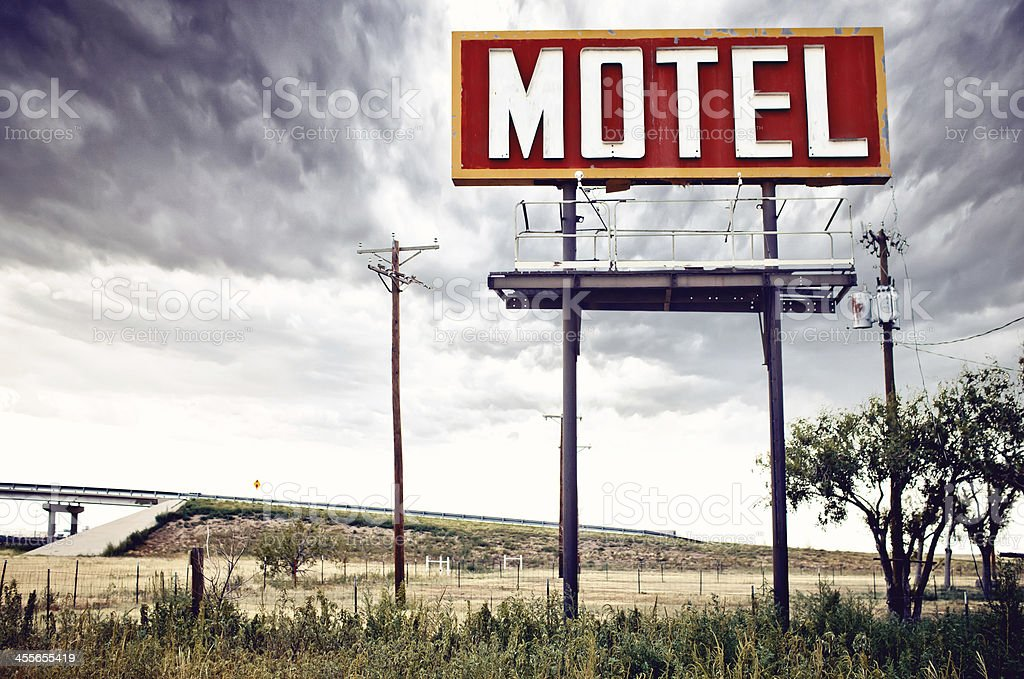 Old motel sign on Route 66, USA stock photo