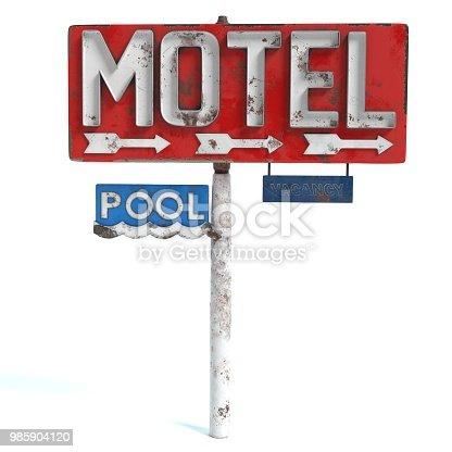 3d illustration of an old Motel Sign