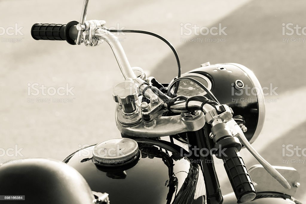 Old motorbike detail stock photo