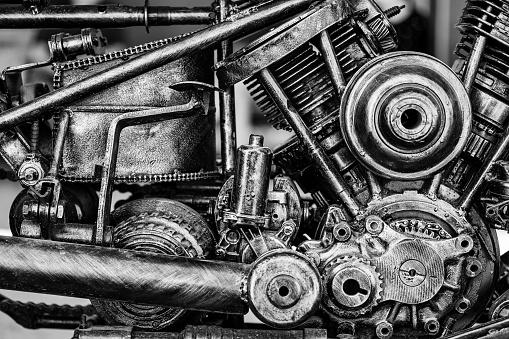 Old motorcycle engine block.