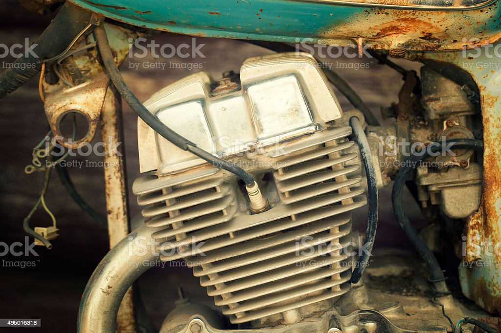 old motorcycle engine stock photo