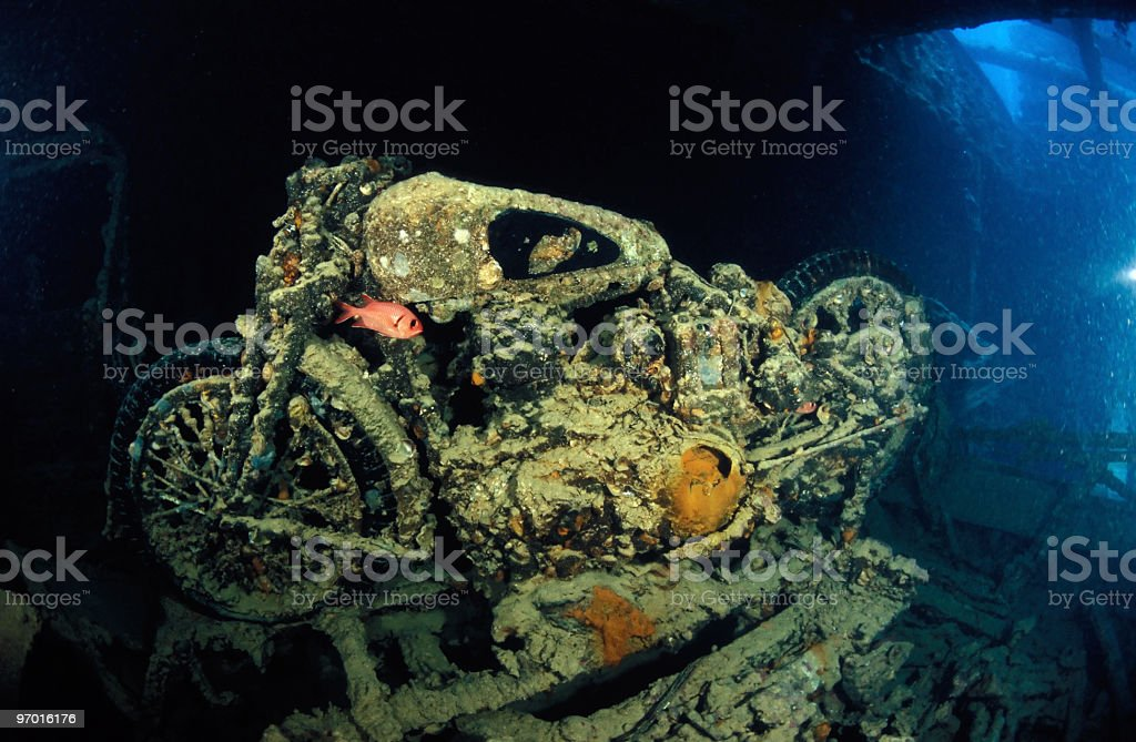 Old motorcycle on the Thistlegorm shipwreck royalty-free stock photo