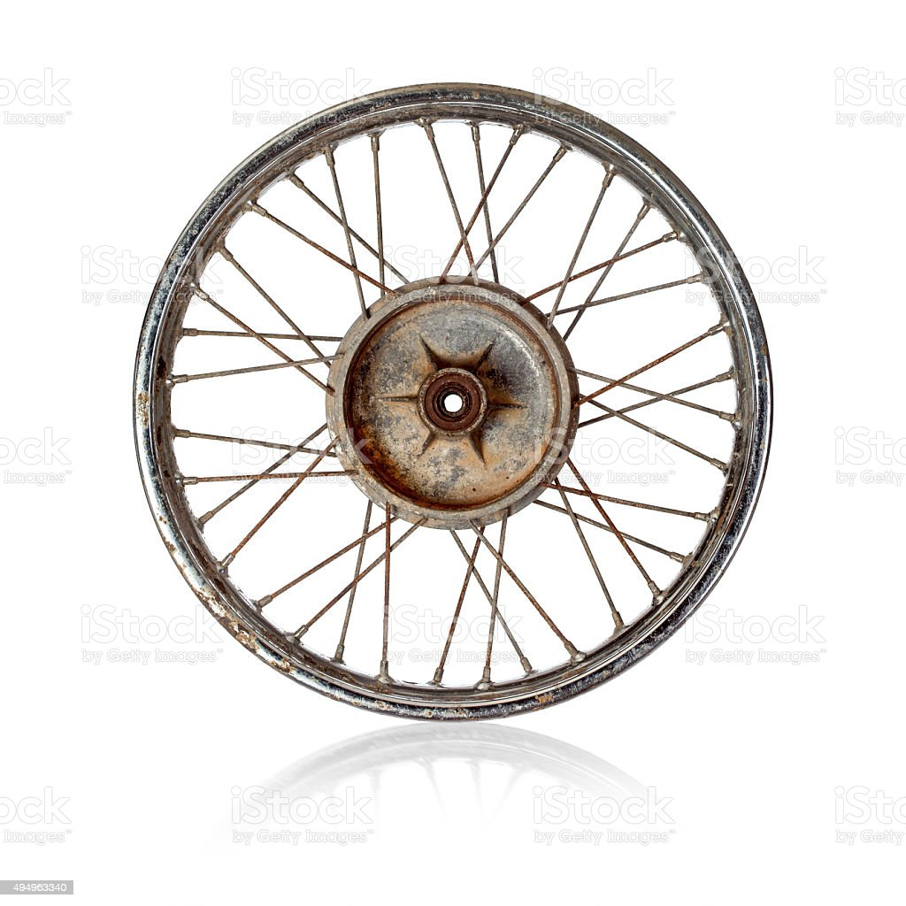 Old motorcycle rim over white stock photo