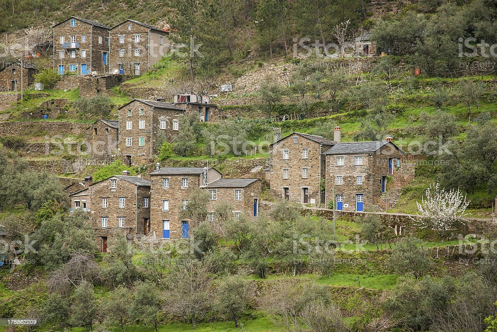 Old moutain village in Portugal stock photo