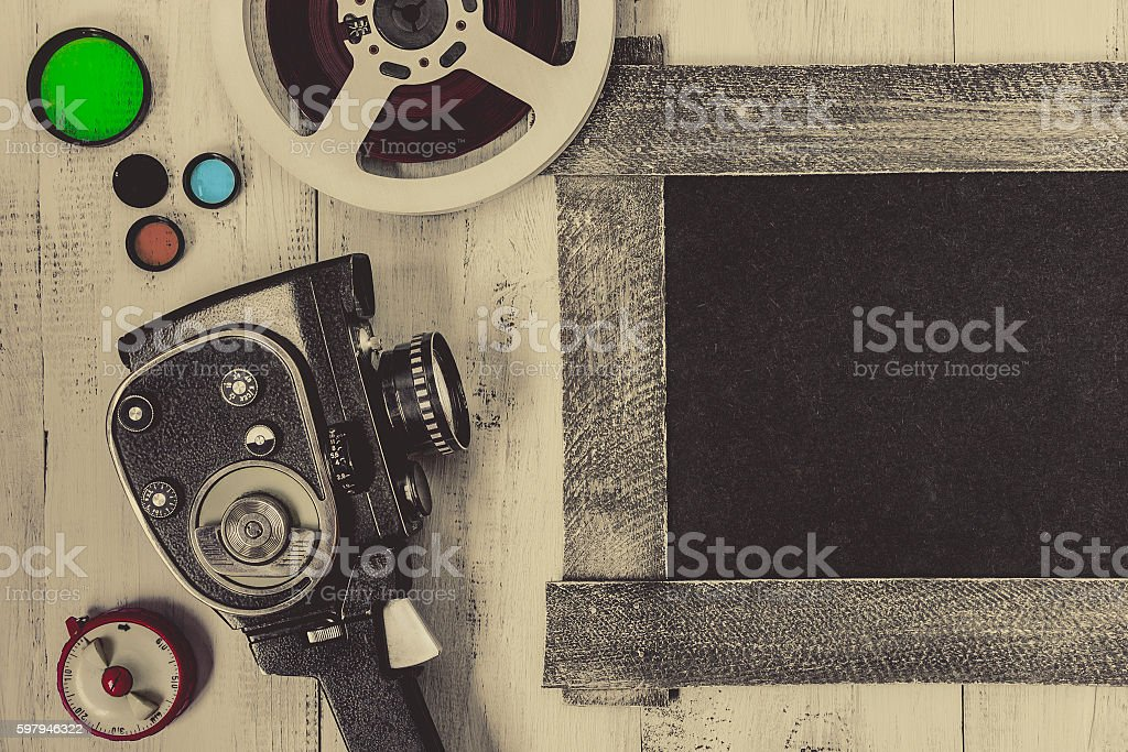 Old movie camera and accessories foto royalty-free
