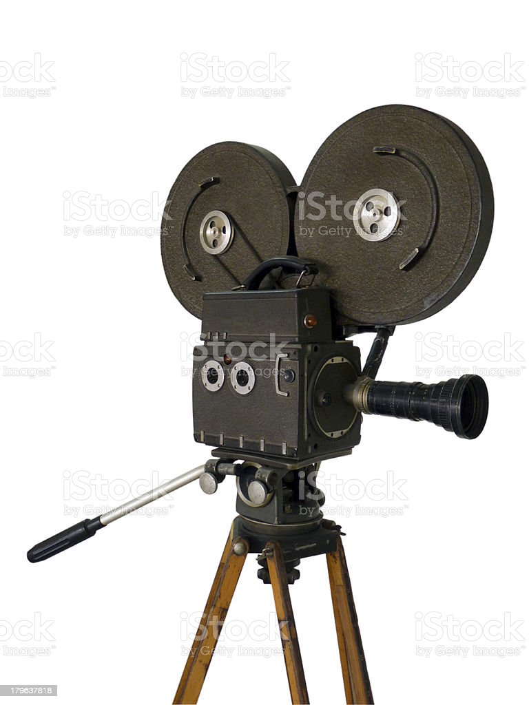 Old movie camera isolated on white royalty-free stock photo