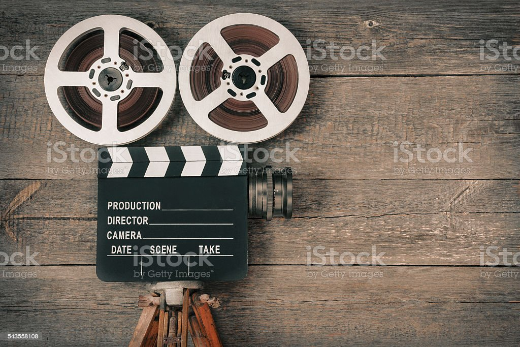 Old movie camera stock photo