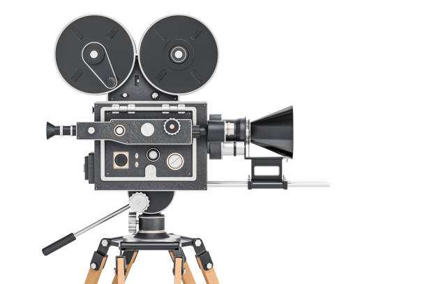 Old movie camera, side view. 3D rendering isolated on white background stock photo