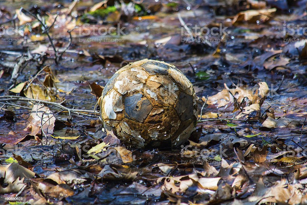Old Muddy Soccer Ball royalty-free stock photo