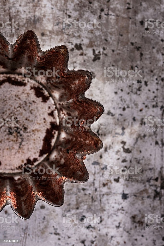 Old muffin tin stock photo