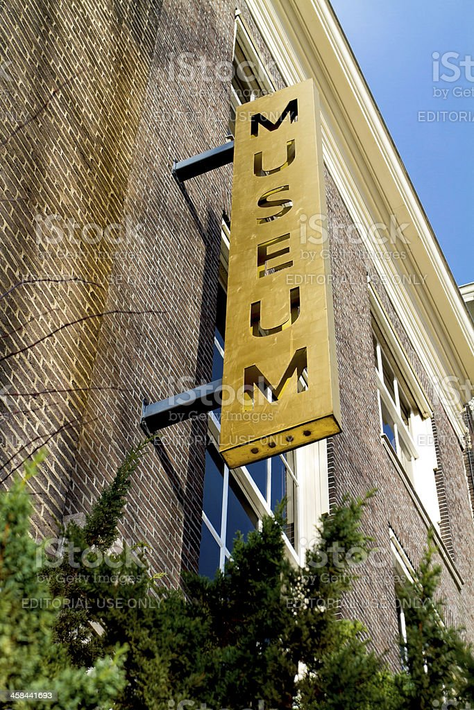 Old museum metal outdoor sign royalty-free stock photo