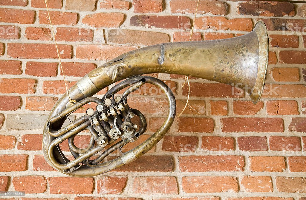 old music instrument on the wall royalty-free stock photo
