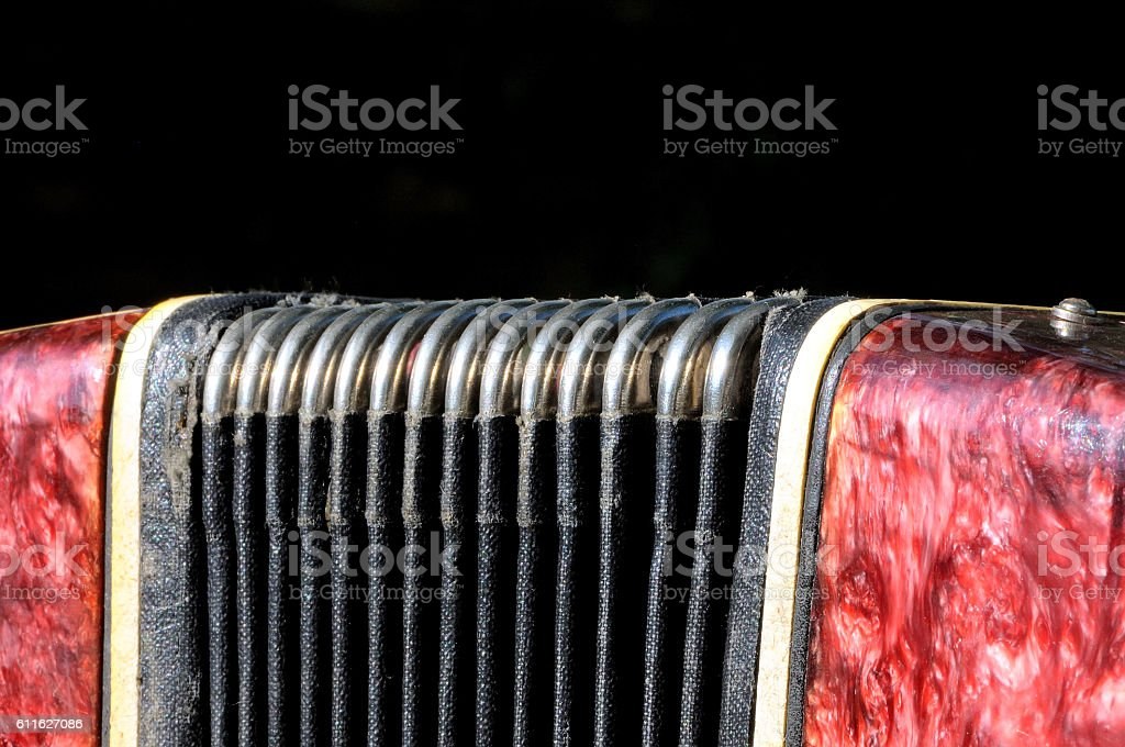 Old musical instrument Russian bayan - button accordion stock photo