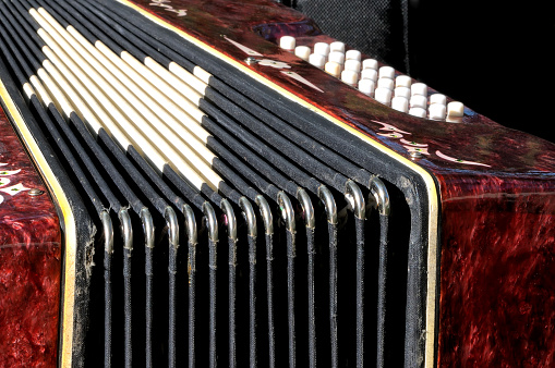 Old Musical Instrument Russian Bayan Button Accordion Stock Photo