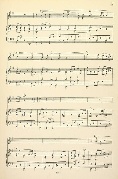 Old musical score - no lyrics Old yellowed sheet music for piano and vocals, no lyrics sheet music stock pictures, royalty-free photos & images