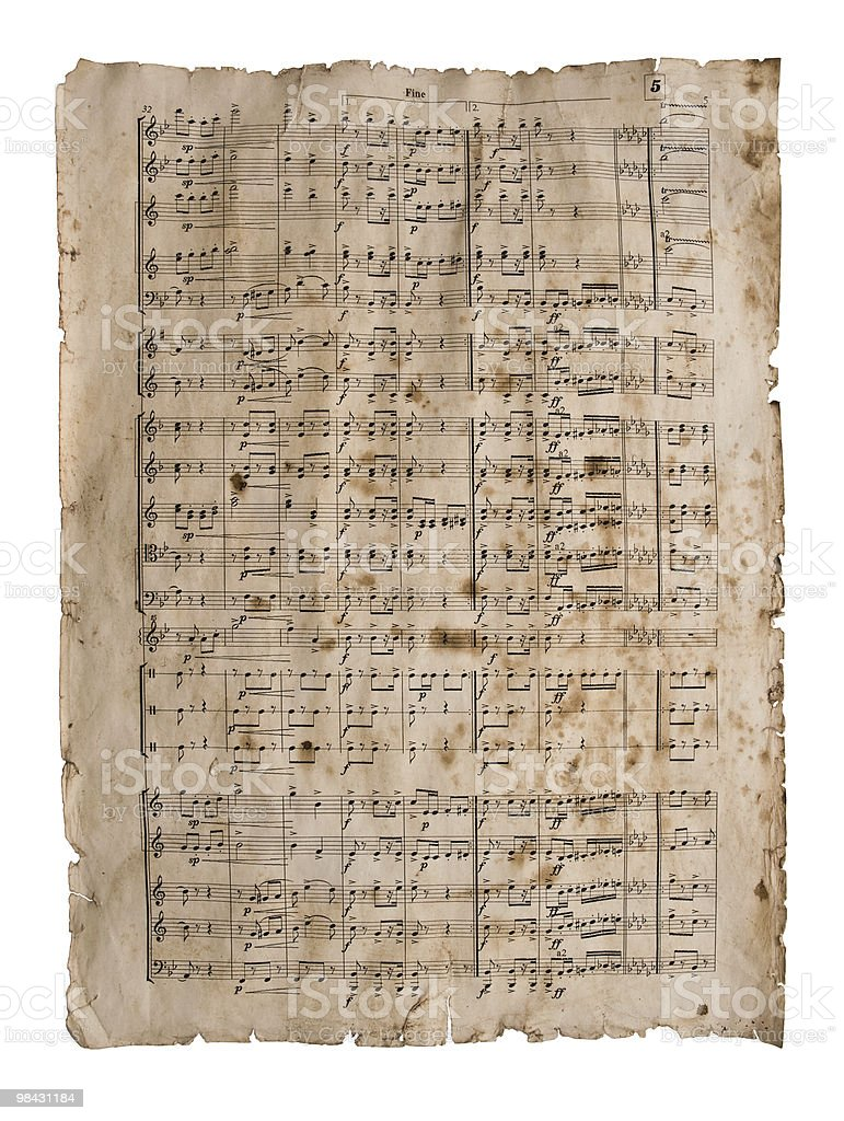 Old musical score royalty-free stock photo