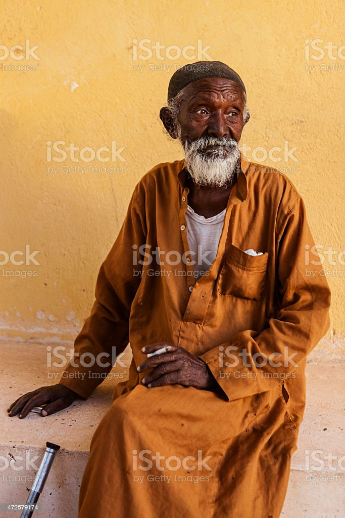 Old Muslim man in Southern Egypt stock photo