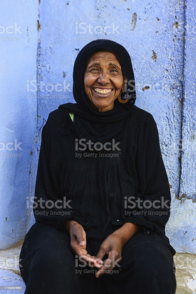Old Muslim woman in Southern Egypt stock photo