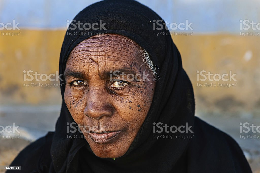 Old Muslim woman in Southern Egypt royalty-free stock photo