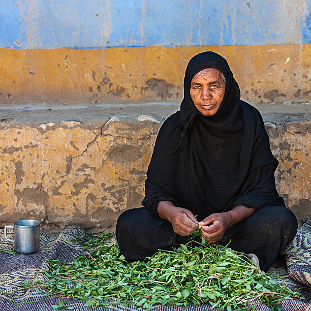 old muslim woman sorting spinach in southern egypt - sudan stock photos and pictures