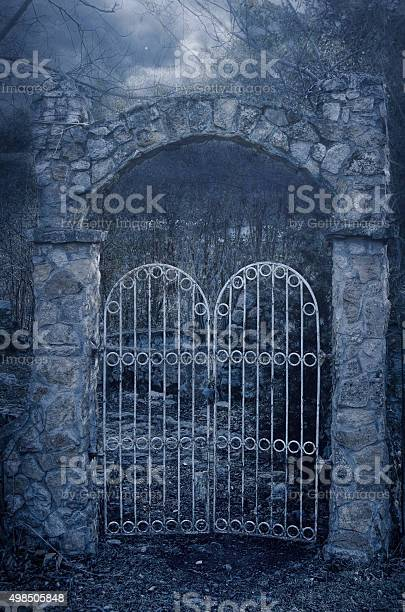 Photo of Old Mystic Gate  in a a foggy twilight