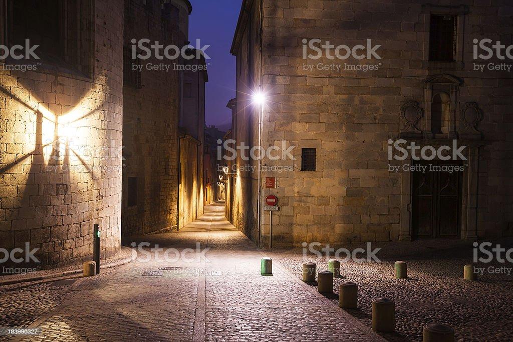 old narrow street of european city.  Girona royalty-free stock photo