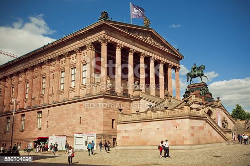 Berlin, Germany - September 2, 2015: People walking around great structure of Alte Nationalgalerie on Septemper 2, 2015. Old National Gallery located on Museum Island, a UNESCO World Heritage Site