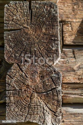 1124475954 istock photo Old Natural Log Cabin Or Barn Wall Texture 863686110