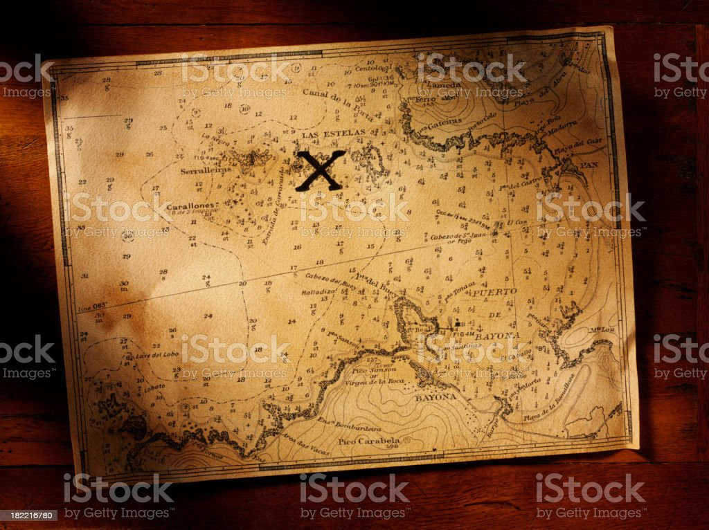Old Nautical Chart royalty-free stock photo