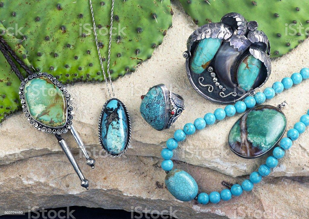Old Navajo Turquoise. stock photo