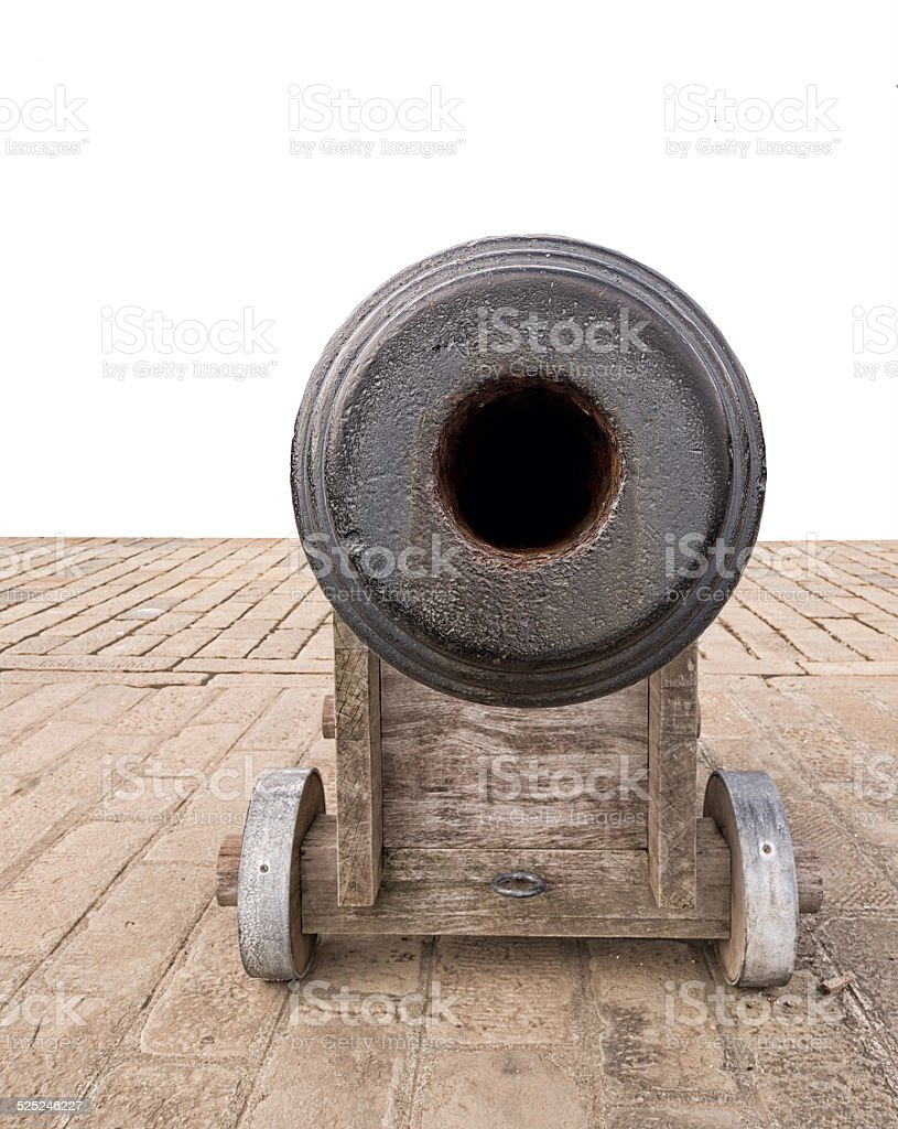 Old naval cannon, looking down the barrel of gun. stock photo