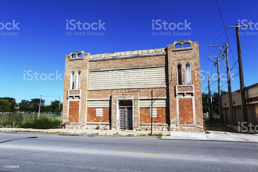 Old neighborhood church building, Oakland, Chicago royalty-free stock photo