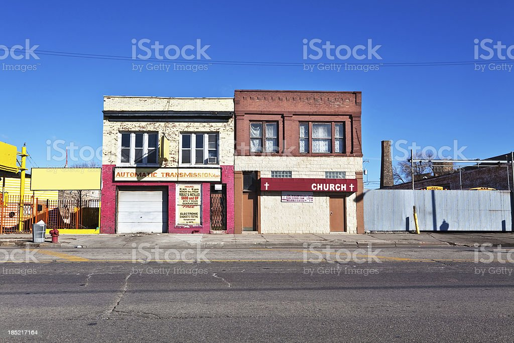 Old Neighborhood Commercial Building and Church in Chicago stock photo