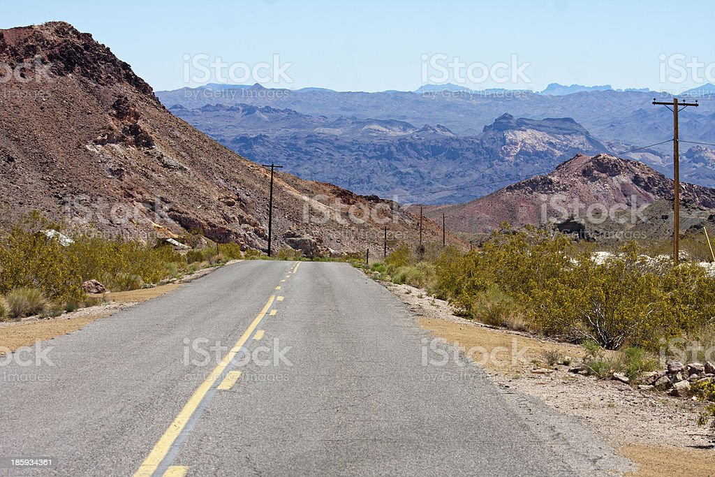 Old Nevada desert highway, Eldorado Canyon, Nelson royalty-free stock photo