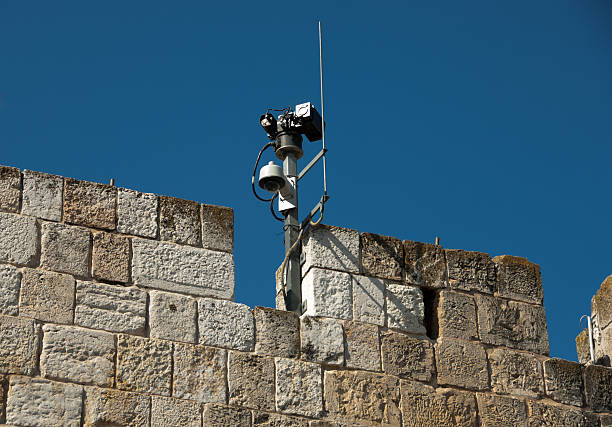 Old & New - Israeli Security Cameras At Work stock photo