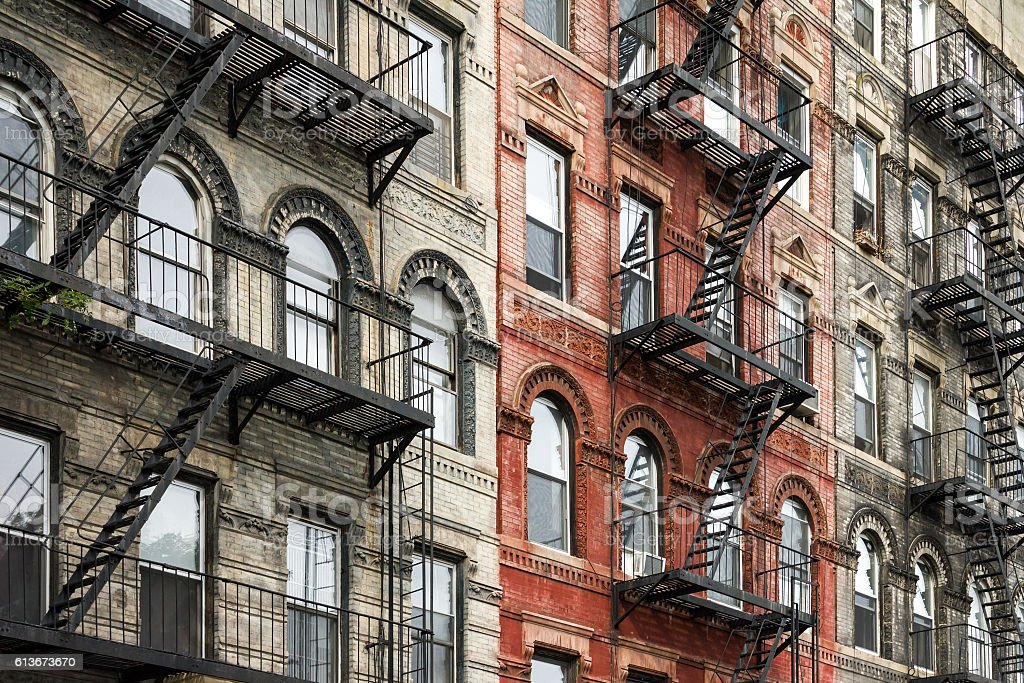 Old New York City Style Buildings in Manhattan stock photo
