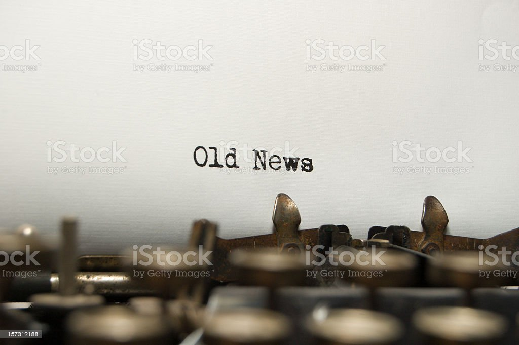 Old News on an old typewriter royalty-free stock photo