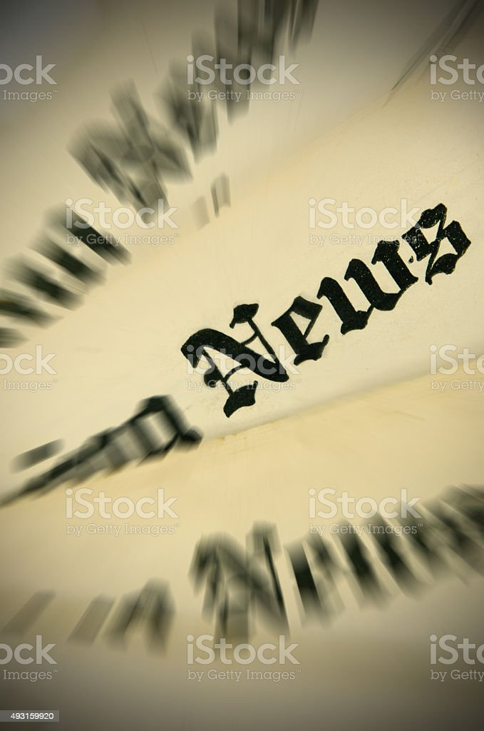 Old Newspaper Mastheads With Zoom Effect Applied Stock Photo