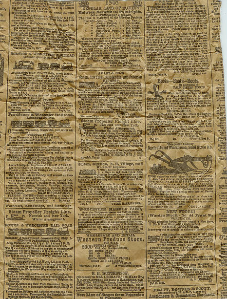 Old Newspaper An old newspaper with information and dates from the 1800's. 1900 stock pictures, royalty-free photos & images