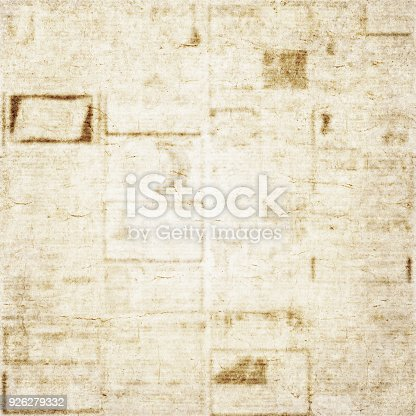 istock Old newspaper texture background 926279332