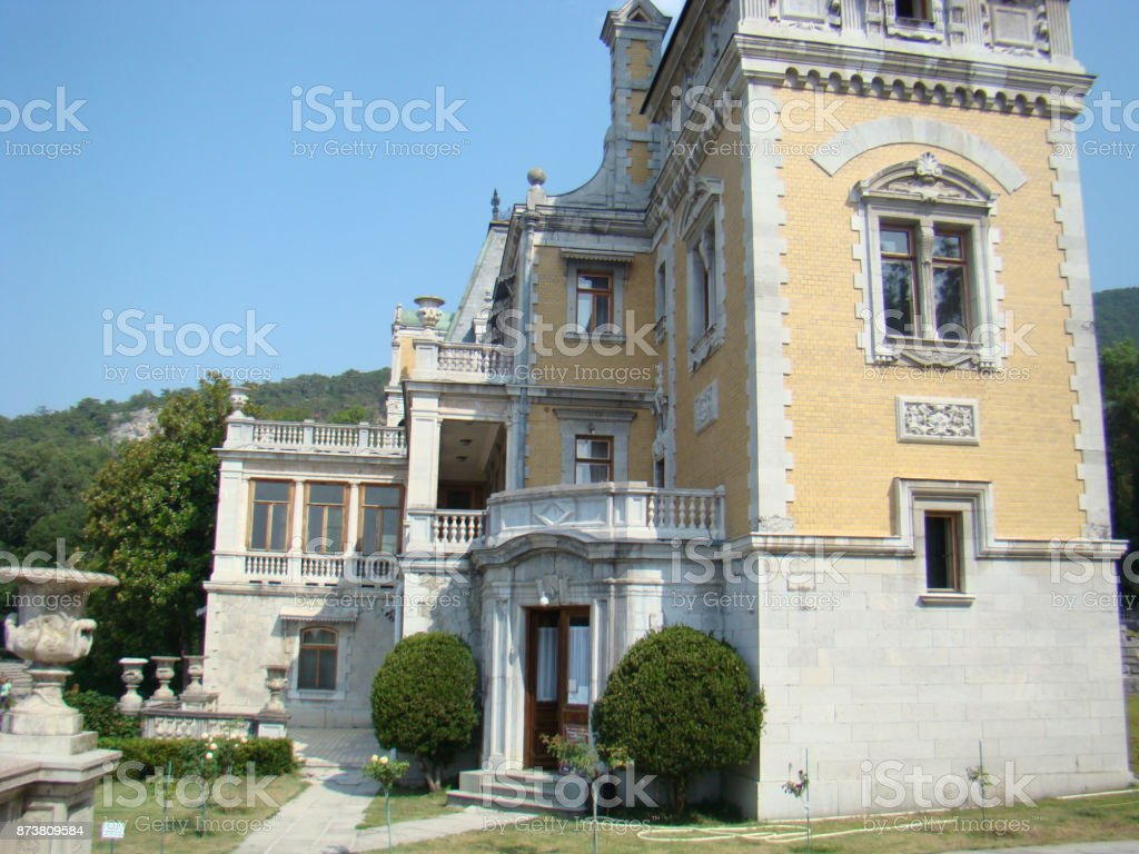 Old noble mansion with a park. stock photo