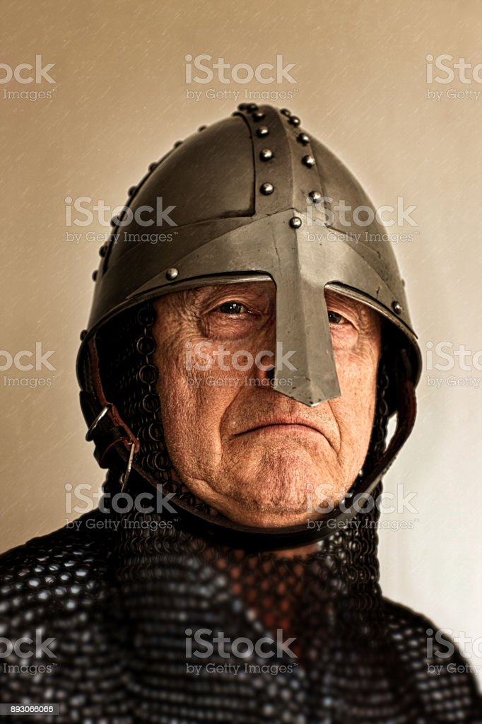 Old Norman Knight in Chain Mail and Helmet stock photo