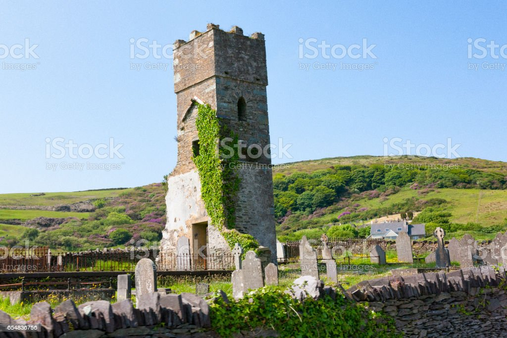 Old Norman Tower on Valentia Island in County Kerry, Ireland stock photo