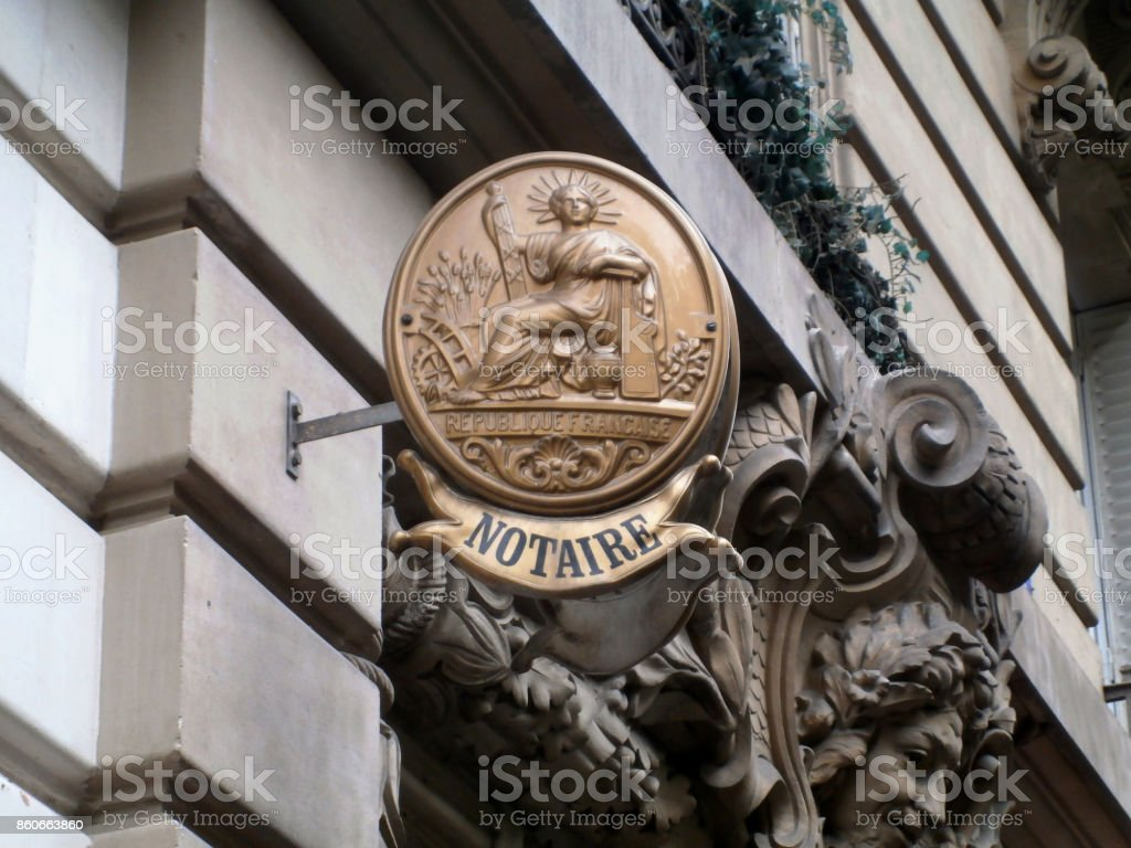 Old notary nameplate stock photo