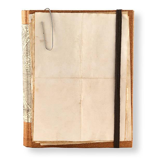 alte notebook-auf einem weißen - planner inserts stock-fotos und bilder