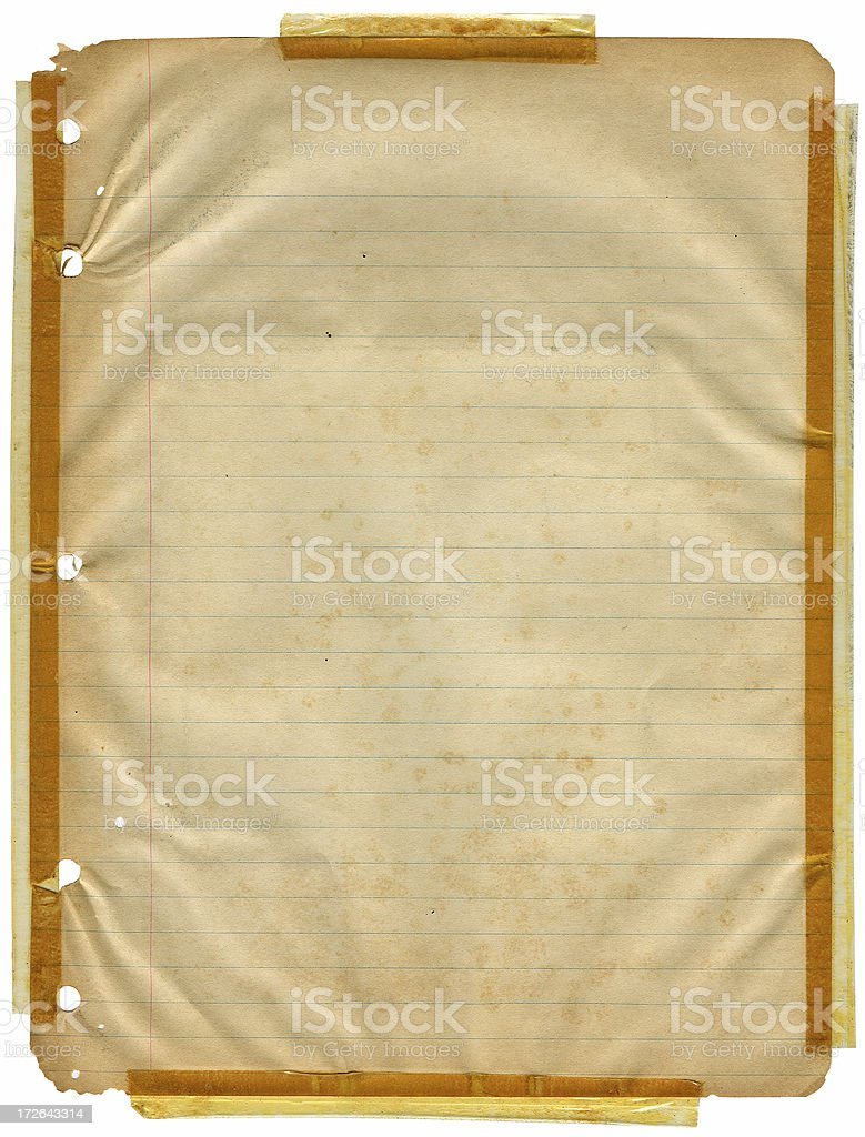 Old Notebook Paper with Scotch Taped Corners royalty-free stock photo