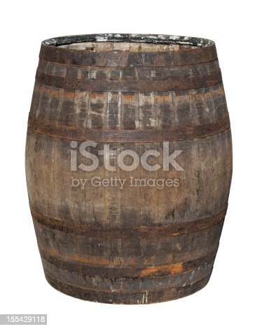 An old oak Whiskey barrel isolated on white.