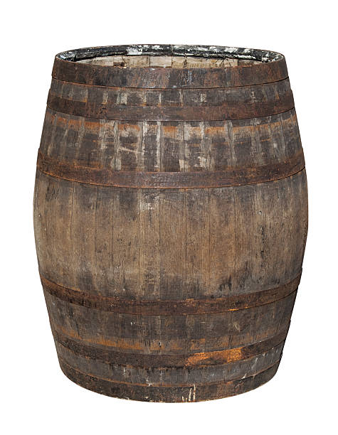 old oak barrel isolated on white - barrel stock pictures, royalty-free photos & images
