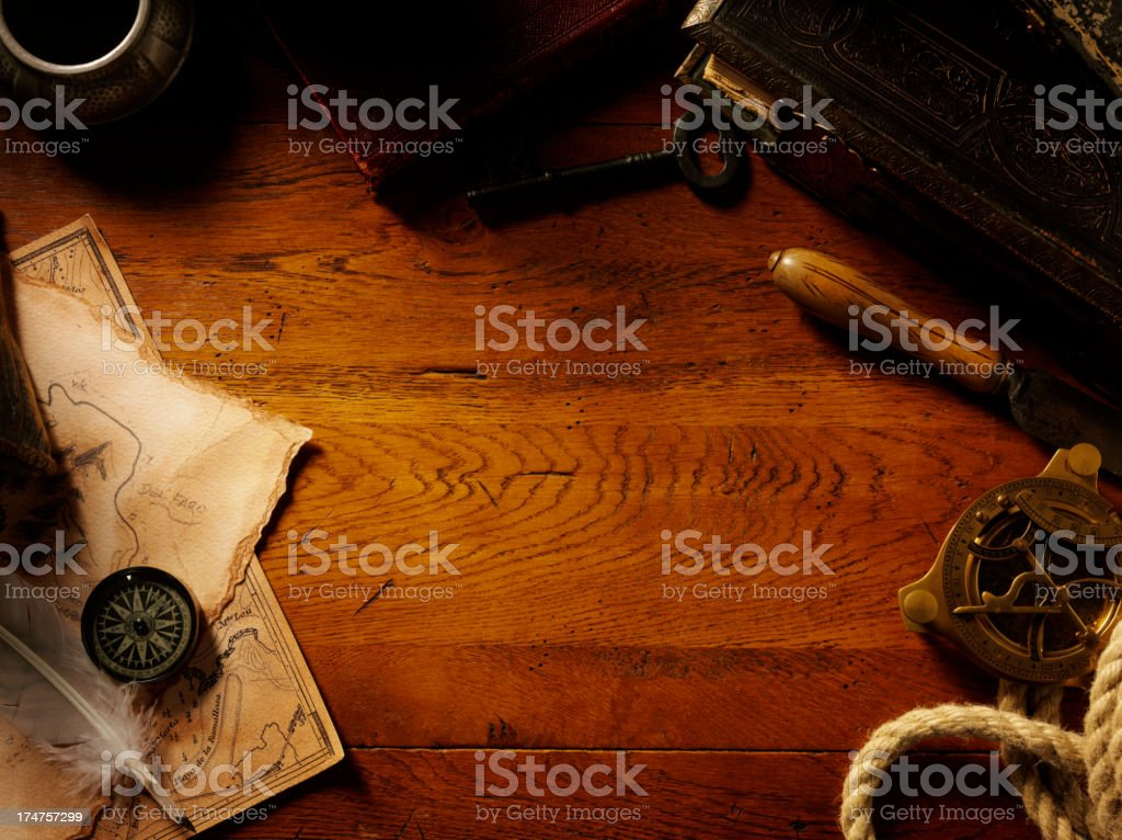 Old Oak Table with a Frame of Antiques and Collectables stock photo
