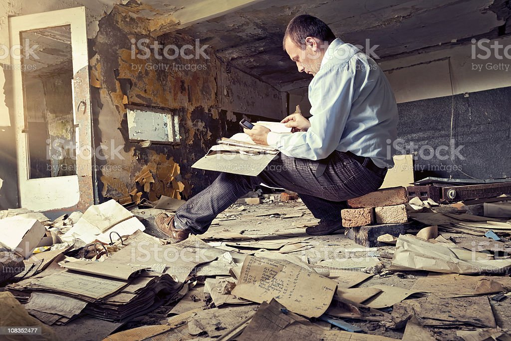 Old office and businessman royalty-free stock photo